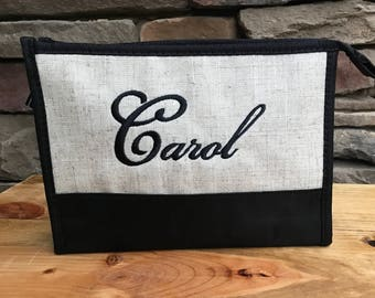 Monogrammed Cosmetic Bag - Personalized Toiletries Bag, Personalized Linen Make Up Bag, Bridesmaid Cosmetic Bag