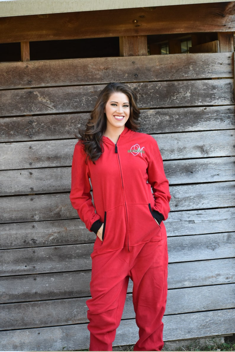 Adult Onesie Red Christmas Pajama Monogrammed Personalized  5c0866e41