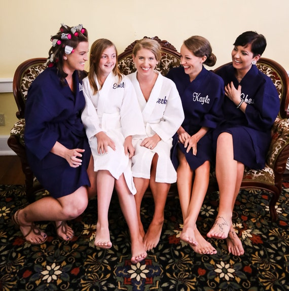 undefeated x bright n colour top-rated Family Matching Waffle Robes Personalized, Navy Bridesmaid Robes, Junior  Teen Size Robe, Monogrammed Waffle Weave Robe, Names Robe, N1/30/19