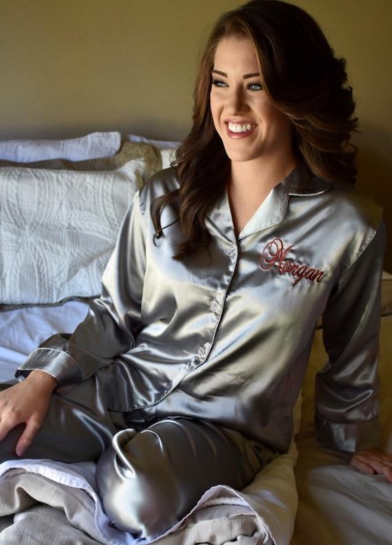 353c2bffac Grey Satin Pajama Set Personalized Sleep Top and Long Pants