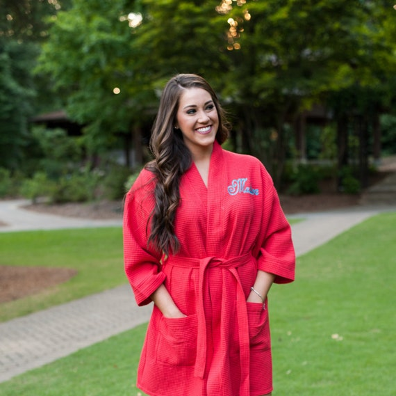 d90fa3c628 Red Waffle Weave Kimono Spa Robe Wedding Party Getting Ready