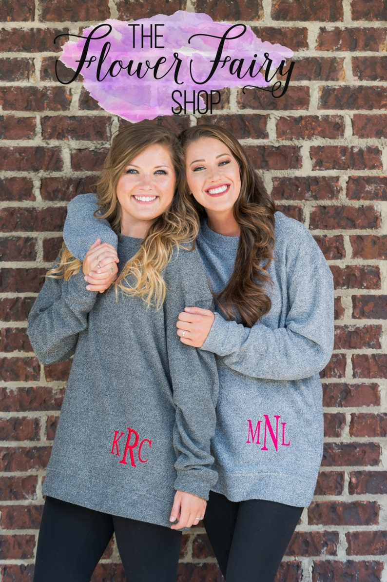 Monogrammed Crew Neck Pull Over Personalized Crew Cozy Crew Personalized Cozy Crew N99 Monogrammed Crew Sweater MONOGRAMMED SWEATER