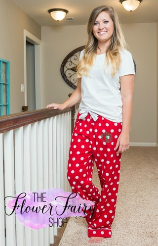 Pajama Pants Flannel Monogrammed, Christmas Flannel Pajama Pants, Ladies PJ Pajama Pants, Ladies and Children Sleepwear, Lounge Pants, N 99