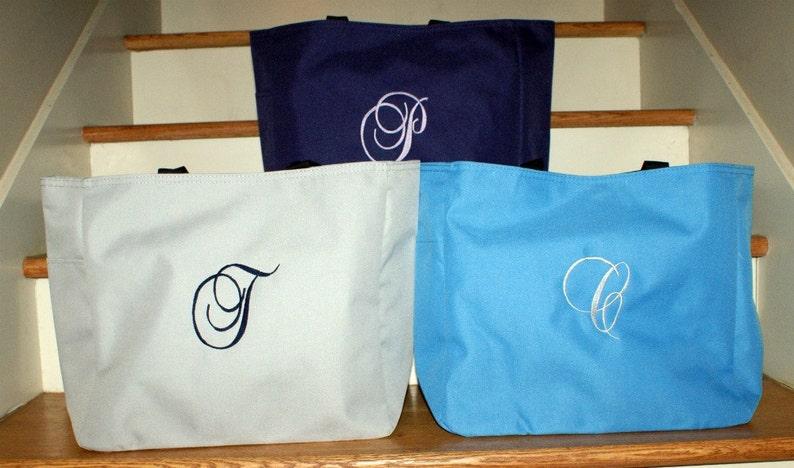 Monogrammed Tote bag Bridal Party Tote Bag Large Tote Bag Personalized Set of 4 Bridesmaids Bag Bridesmaids Gift Beach Bag