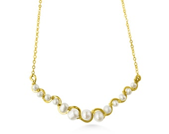 Pearl and 14k gold fill river necklace