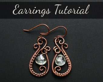 """Wire Weave / Wire Wrapped Earrings Tutorial : """"Harmony""""   Downloadable PDF   Advanced Beginner Project"""