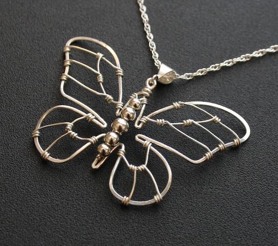 Schmetterling Anhänger Halskette Silber Draht umwickelt   Etsy