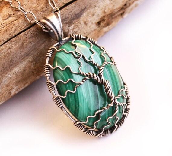 Malachit-Baum des Lebens Anhänger Halskette Silber Draht | Etsy