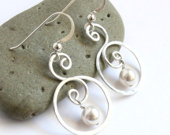 Sterling Silver Pearl Drop Earrings - Elegant Circle Swirl - Classic Bridal Jewelry
