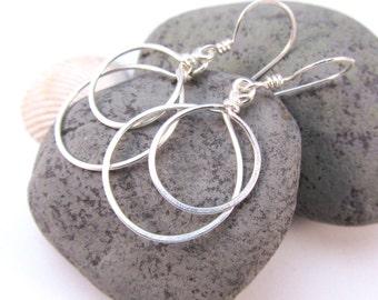 Hoop Dangle Earrings - Classic Elegant Silver Hoop Earrings - Double Circle - Sterling Silver Filled