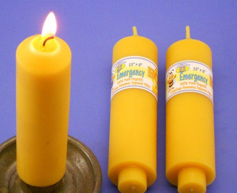 Pair of Beeswax Emergency Candles, 1 5 x 6 Carriage Candles, Beeswax Candle  Tapers, Perfect Candles For Power Outage, Pure Beeswax Candles