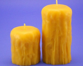 Beeswax Candles, 2.8 x 3 and 2.8 x 5 Drip Finish Beeswax Pillars, Handmade From 100% Pure Bees Wax Cappings, Bees Wax Candle Pillars