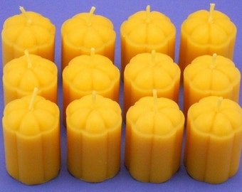 Beeswax Votives, One Dozen 1.5 x 2 Beeswax Flower Blossom Candles, Handmade Canadian Beeswax Candles, Pure Cappings Bees Wax Votives