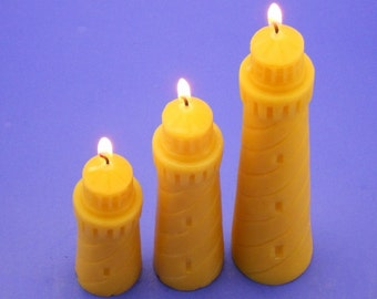 Set of 3 Lighthouse Candles, Beeswax Candles, Hand Poured Candles, Pure Bees Wax Candles, Nautical Gift, Canadian Beeswax Candles