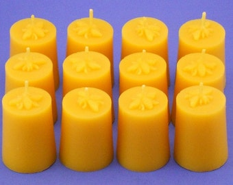 Honeybee Candles, 12 Beeswax Votives, Votive Candles, Organic Beeswax Candles, Sustainable Candles, Eco Friendly Candles, 100% Pure Bees Wax