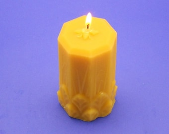 "Beeswax Candle, 2.5"" x 5"" Beeswax Pillar, 100% Pure Bees Wax Candle, Organic Beeswax Cappings Candle, Home Decor Candle, Natural Candle"