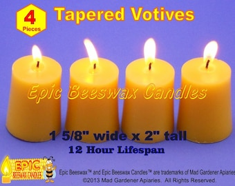 Beeswax Votive Candles, Set of Four Beeswax Votives, Organic Beeswax Candles, Handpoured Candles, Pure Bees Wax, Home Decor Candle Lighting