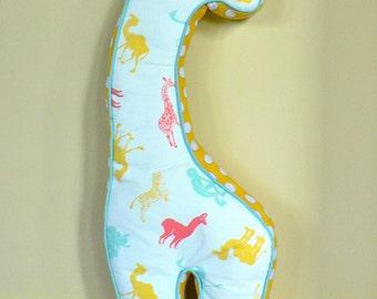 Giraffe Pillow in Pastel Animal Print