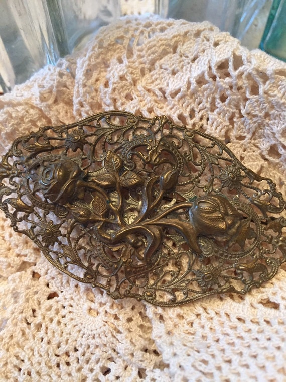 Antique Rose Brooch - image 2