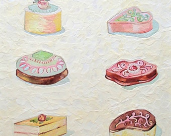 Original Encaustic Painting Petite Fours Cakes beeswax painting Kitchen Pastel shabby chic wall art cookbook