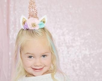 Unicorn Costume Girls Hair Clip Unicorn Horn and Ears with Flowers Headpiece