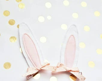 Easter Bunny Ears Hair Clips for White Bunny Rabbit Girl Costumes or Dress Up