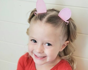 Pink Pig Costume Ears Hair Clips