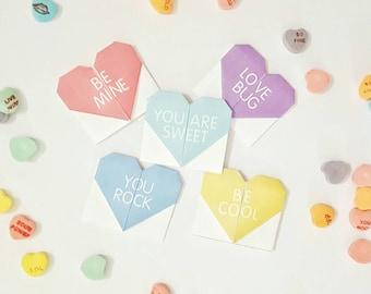 Printable Valentines Valentine's Day Cards DIY Origami Conversation Heart Valentine Bookmarks INSTANT DOWNLOAD