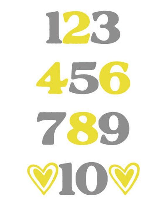 Numbers Digital Nursery Wall Art Decor PRINTABLE 8x10 JPEG