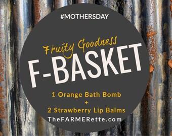 F- Basket (Fruity Goodness) Lip balms +Bath Bomb