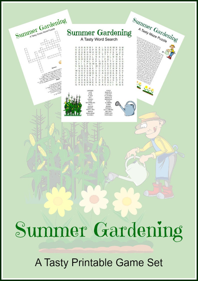 photo about Summer Crossword Puzzle Printable known as Summer months Gardening Video game Puzzle Established of 3 - Crossword, Term Seem, Maze, Bash Online games, Summer time, Young children and Older people, Printables, Instantaneous Down load