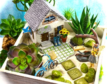 Beach Cottage Garden Kit ~ Fairy Or Pet Choice ~ Wooden Planter ~ Herb  Garden Kit ~ Fake Succulent Option At Checkout ~ Sand NOT Included