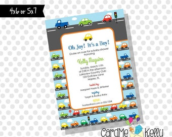 Printable Cars, Trucks and Traffic Baby Shower Birthday Invitation - Digital File