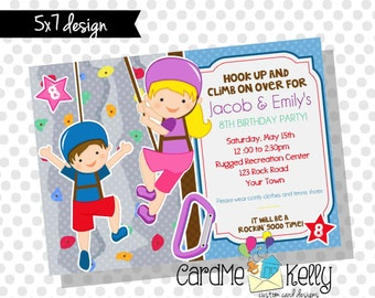 Printable 5x7 Boy or Girl or Both Games Rock Climbing Recreation Center Gym Birthday Party Invitation - Digital File