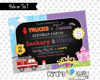 Printable Joint Birthday Party Invitation Firetrucks, Monster Trucks , Construction and Tiaras - Digital File