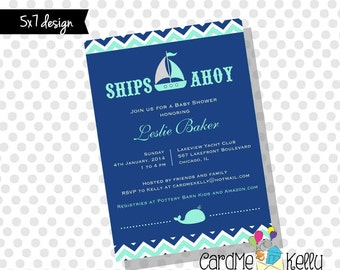 Printable 5x7 Nautical Sailboat Yacht Whale Baby Shower Invitation- Digital File