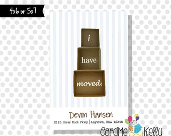 Printable 4x6 Moving Boxes Change of Address Card- Digital File