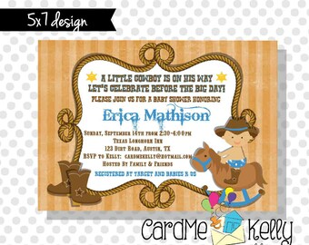 5x7 Printable Little Cowboy Rustic Rocking Horse Rope Baby Shower Invitation - Printable Digital File
