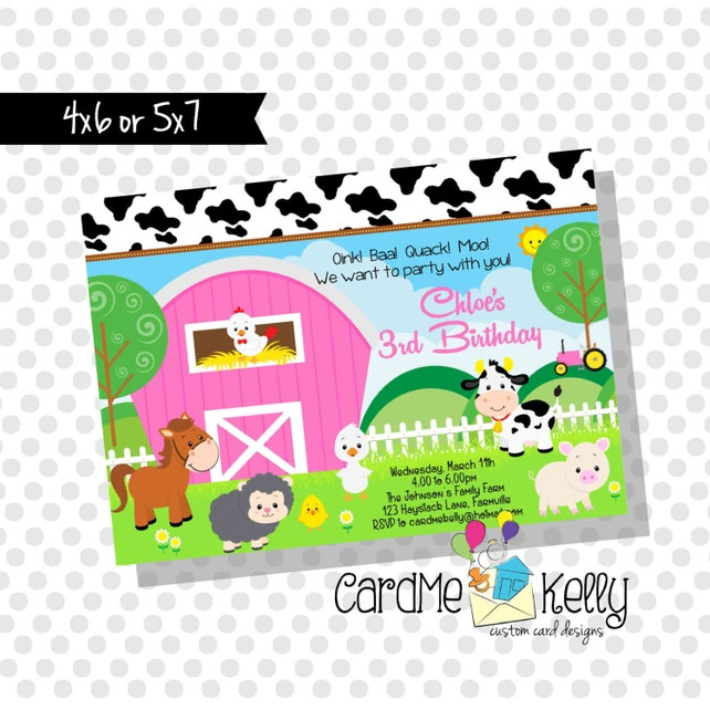 Printable Farm Tractor Animals Cow Pig Horse Duck Sheep Birthday Party Invitation