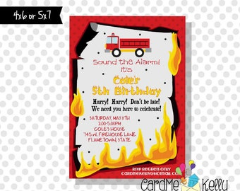 Printable Flames Fireman Fire Truck Fire Station Siren Birthday Invitation- Printable Digital File