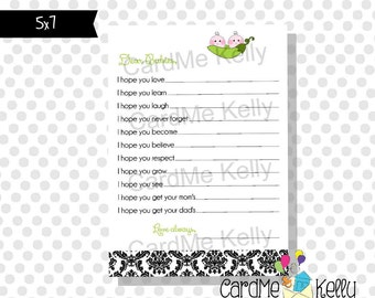 INSTANT DOWNLOAD Printable 5x7 Baby Shower Wishes For Baby Cards M2M Pea Pod Baby Shower Invitation- Digital File