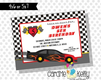 Printable Racecar Race Track Birthday Party Invitation - Digital File