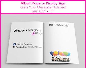 8.5x11 Testimonials Album Page or Sign