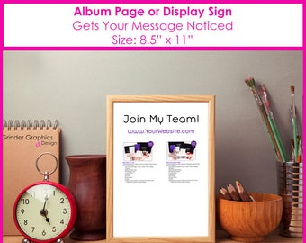8.5x11 Join My Team PERSONALIZED Album Page or Sign