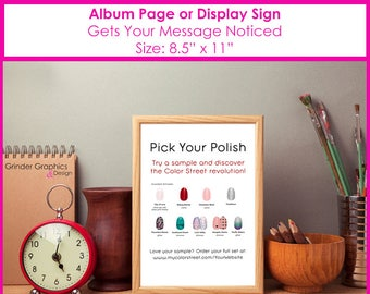 8.5x11 Pick Your Polish PERSONALIZED Album Page or Sign