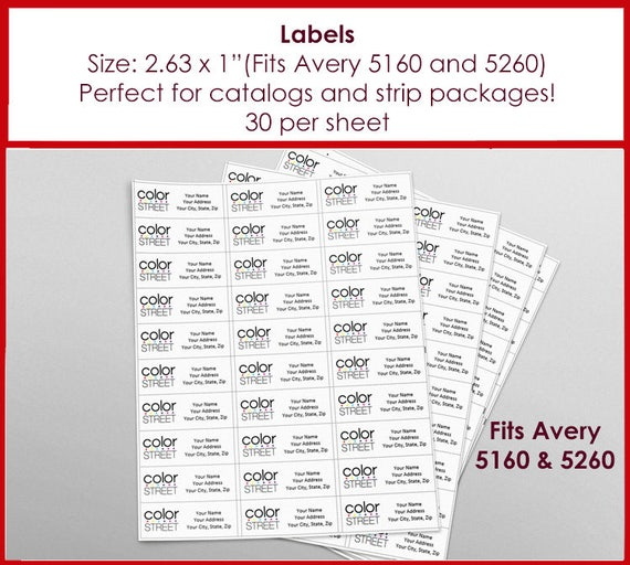 labels color street return address labels avery 5160 size etsy