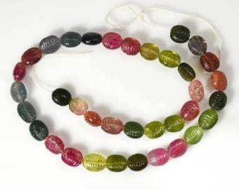 Multicolor Carved Tourmaline Beads 16 Inche Length 193.17 Carats