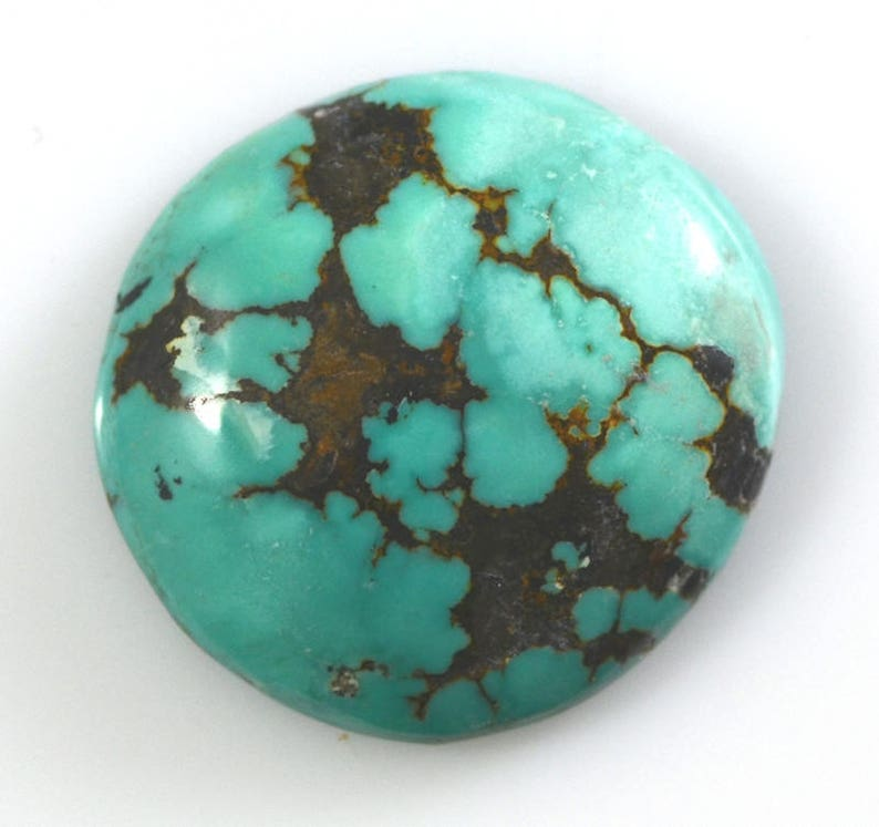 Kingman Spiderweb Natural Turquoise Freeform Cabochon 24.65 Carats 24.8x23.4mm Not Backed