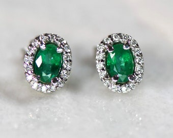 Columbian Emerald and Diamond Halo 14k White Gold Stud Earrings