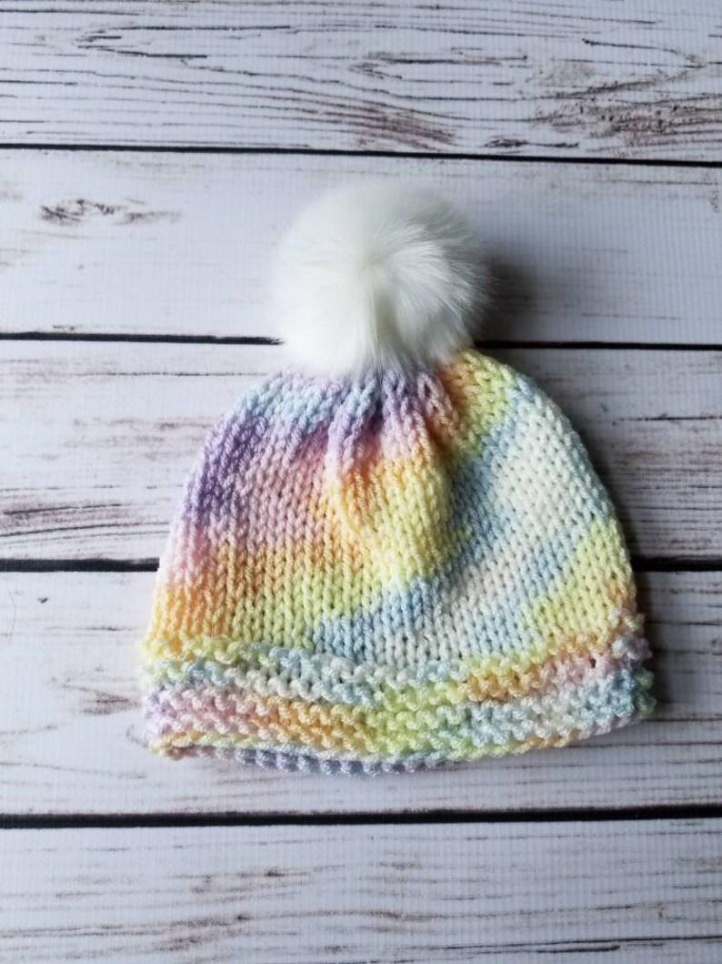 69ee47a2064 Pastel Baby Hat Pom Pom Hat Baby Pom Hat Faux Fur Pom